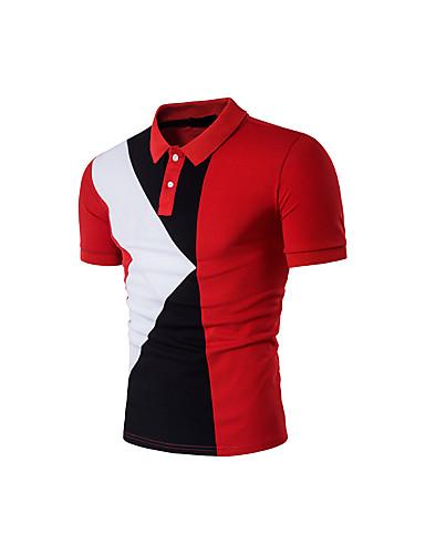 Homens Camiseta - Esportes Estampado, Estampa Colorida Algodão Colarinho de Camisa / Manga Curta