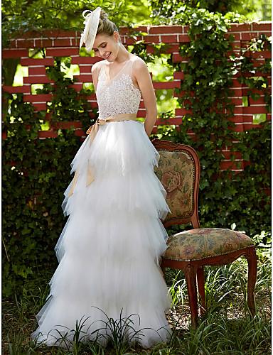 Linha A Decote V Longo Renda Tule Vestido de casamento com Apliques Faixa / Fita de LAN TING BRIDE®