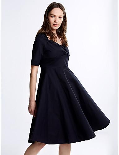 Robe Aux femmes Trapèze Vintage / Soirée , Couleur Pleine Col Carré Mi-long Laine / Coton / Elastique