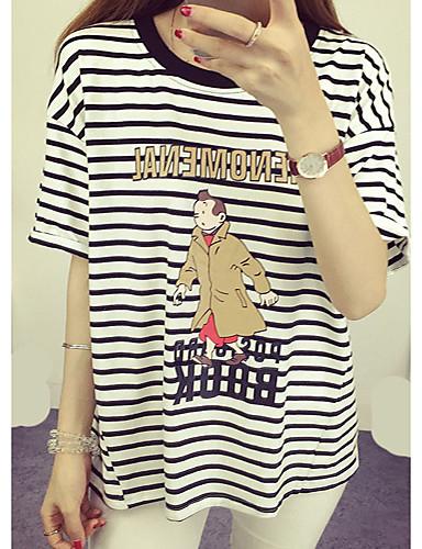 여성용 줄무늬 프린트 - 티셔츠 비치 면
