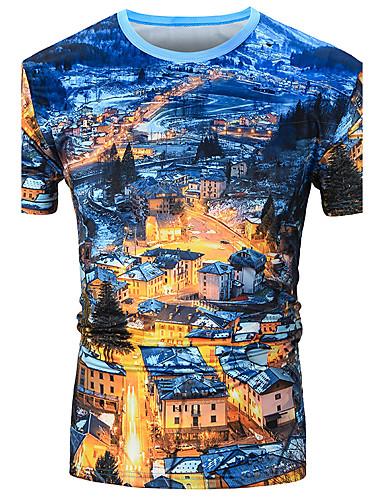 남성 기하학 프린트 셔츠 카라 짧은 소매 셔츠,단순한 활동적 스포츠 캐쥬얼/데일리 비치 면 레이온 여름 얇음