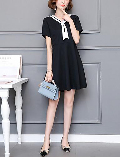 여성용 플러스 사이즈 데이트 / 홀리데이 스트리트 쉬크 칼집 드레스 - 패치 워크 높은 밑위 무릎 위 V 넥