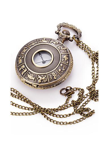 Homens Quartzo Colar com Relógio Chinês Mostrador Grande Metal Banda Amuleto Cores Múltiplas