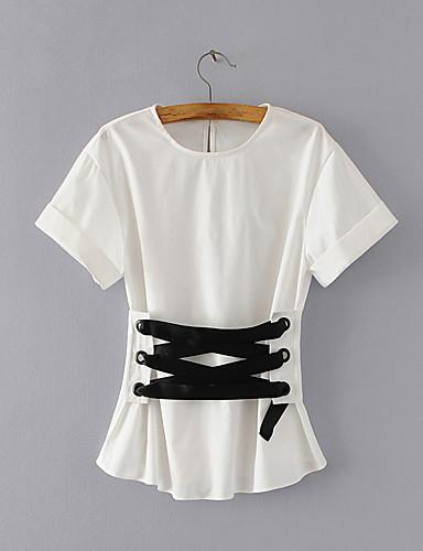 여성 솔리드 라운드 넥 짧은 소매 블라우스,단순한 섹시 스트리트 쉬크 데이트 캐쥬얼/데일리 면 여름 얇음 중간