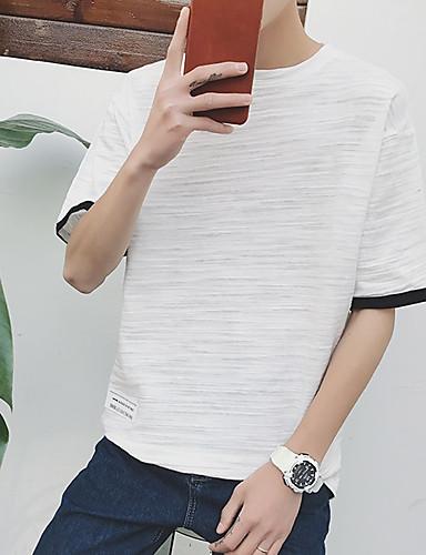 남성용 솔리드 라운드 넥 티셔츠, 캐쥬얼 면 / 짧은 소매