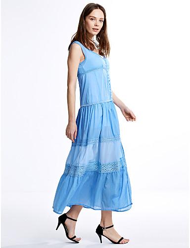 Women's A Line Dress - Patchwork Lace Mesh