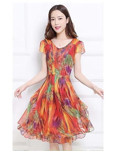 c3f3400e992 Women s Plus Size Going out Sophisticated Skater Dress - Rainbow Print  Summer Green Orange XXL XXXL XXXXL  05762031