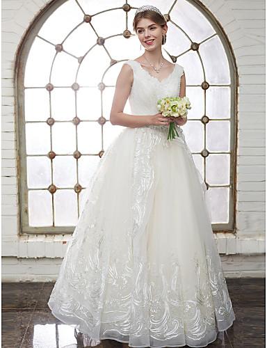 055b5036ce5b Γραμμή Α Λαιμόκοψη V Μακρύ Τούλι   Δαντέλα κορδόνι Φορέματα γάμου φτιαγμένα  στο μέτρο με Κρυσταλλάκια
