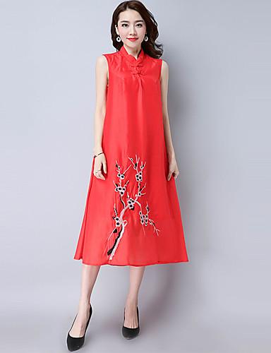 여성 루즈핏 드레스 캐쥬얼/데일리 빈티지 심플 자수장식,스탠드 미디 짧은 소매 폴리에스테르 여름 높은 밑위 신축성 없음 얇음