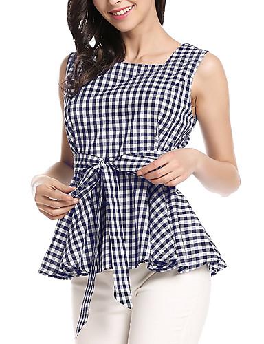 Mulheres Camisa Social Vintage Xadrez Algodão Decote Quadrado