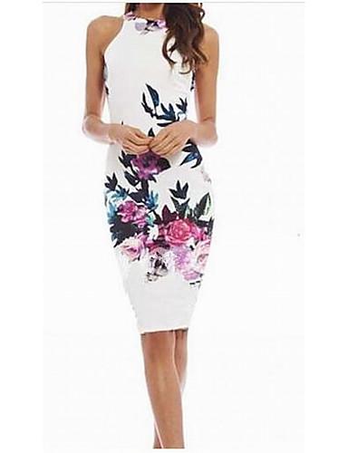abordables Robes Femme-Femme Fleur Simple Midi Moulante Robe Couleur Pleine Eté Blanc M L XL Coton Sans Manches / Mince