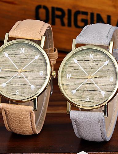 Mulheres Quartzo Relógio de Pulso Chinês Colorido / Couro Banda Brilhante Casual Relógio Criativo Único Fashion Legal Preta Branco Marrom