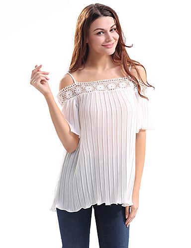 여성 솔리드 보트넥 짧은 소매 티셔츠,심플 캐쥬얼/데일리 폴리에스테르 여름 얇음