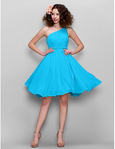 e8e7064b69fa Γραμμή Α Ένας Ώμος Μέχρι το γόνατο Σιφόν Φόρεμα Παρανύμφων με Πλαϊνό ντραπέ  με LAN TING BRIDE®