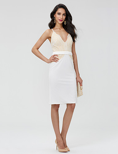 Eng anliegend V-Ausschnitt Kurz / Mini Spitze Schöner Rücken Cocktailparty Kleid mit Schärpe / Band / Plissee durch TS Couture®