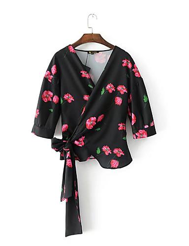 여성 플로럴 V 넥 셔츠,단순한 섹시 스트리트 쉬크 데이트 캐쥬얼/데일리 면 여름 얇음 중간