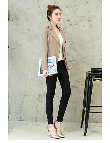 여성 솔리드 카울 넥 긴 소매 트렌치 코트,단순한 스트리트 쉬크 정교한 디테일 데이트 캐쥬얼/데일리 홀리데이 짧은 그외 봄 가을