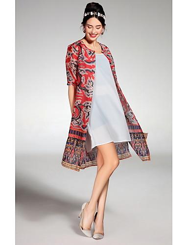 여성 루즈핏 드레스 캐쥬얼/데일리 귀여운 프린트,라운드 넥 무릎길이 ½ 길이 소매 면 봄 여름 중간 밑위 신축성 없음 얇음