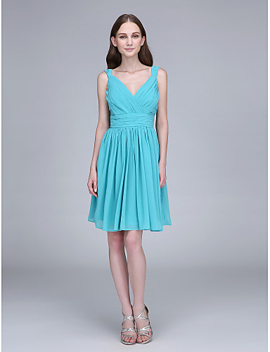 מעטפת \ עמוד צווארון V קצר \ מיני שיפון שמלה לשושבינה  עם אסוף בד בהצלבה על ידי LAN TING BRIDE®