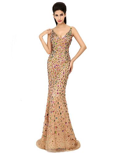 Trompete / Meerjungfrau V-Ausschnitt Pinsel Schleppe Tüll Formeller Abend Kleid mit Kristall Verzierung Pailletten durch Sarahbridal
