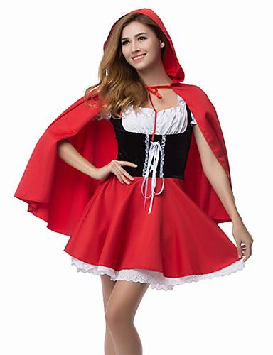 halpa Halloween- ja karnevaaliasut-Satuteema Pieni Punahilkka Mekot Cosplay-Asut Viitta Juhla-asu Aikuisten Naisten Joulu Halloween Karnevaali Festivaali / loma Polyesteri Punainen Nainen Karnevaalipuvut Patchwork