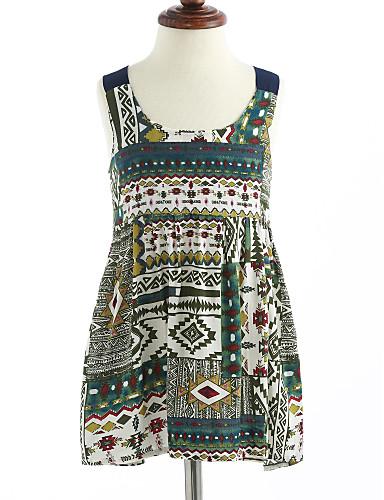 여자의 드레스 격자, 여름 면 민소매 꽃 클로버