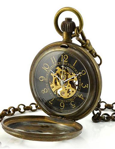 남성용 스켈레톤 시계 회중 시계 기계식 시계 석영 오토메틱 셀프-윈딩 합금 밴드 브론즈