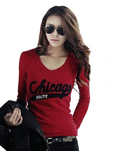 여성 솔리드 문자 V 넥 긴 소매 티셔츠,심플 스트리트 쉬크 캐쥬얼/데일리 폴리에스테르 그외