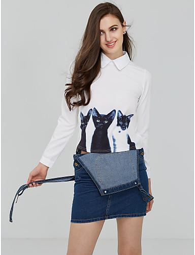 Mulheres Camisa Social - Para Noite Moda de Rua Estampado Colarinho de Camisa / Primavera