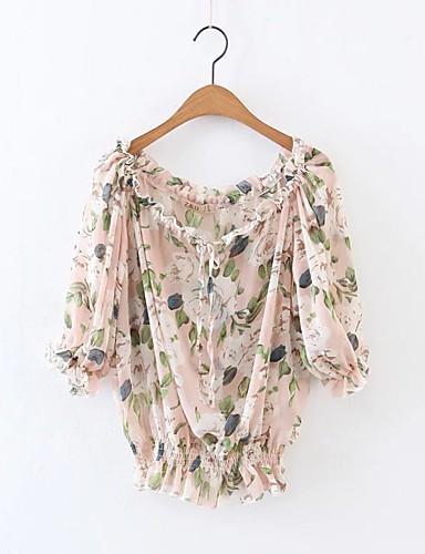 여성 플로럴 프린트 보트넥 긴 소매 블라우스,단순한 섹시 스트리트 쉬크 캐쥬얼/데일리 데이트 면 여름 중간 얇음