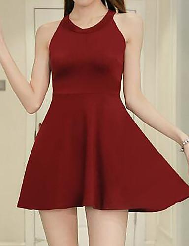 여성 칼집 드레스 데이트 단순한 솔리드,라운드 넥 무릎 위 민소매 면 여름 중간 밑위 신축성 없음 중간