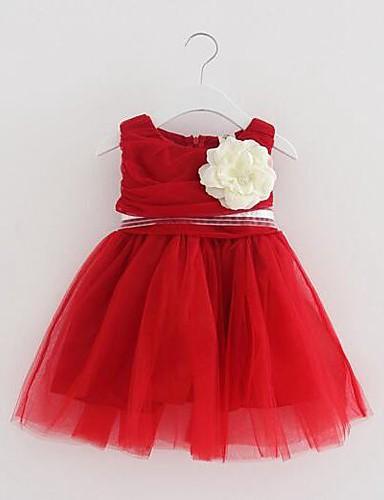 Mädchen Kleid Einheitliche Farbe Baumwolle Polyester Sommer Ärmellos