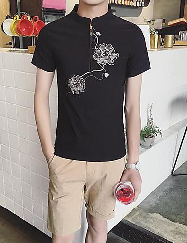 남성 플로럴 크루넥 짧은 소매 셔츠,심플 캐쥬얼/데일리 면 여름 얇음