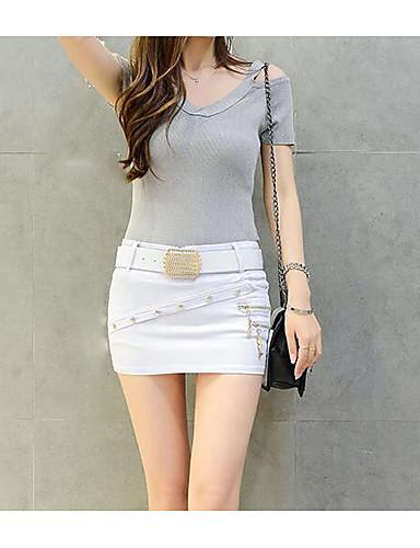 Dámské Mini Bodycon Sukně,Denní 100% bavlna Jednobarevné Léto