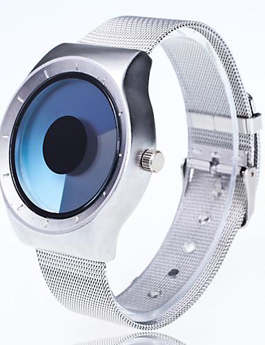남성용 패션 시계 손목 시계 독특한 창조적 인 시계 중국어 석영 큰 다이얼 메탈 밴드 창조적 캐쥬얼 실버