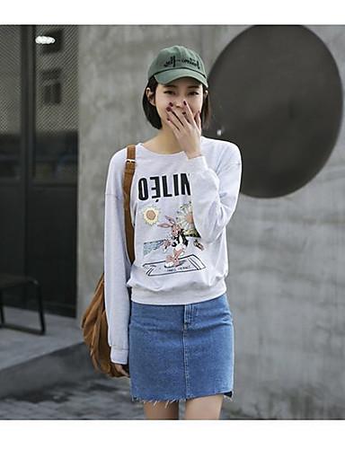 Damen Pullover Ausgehen Lässig/Alltäglich Niedlich Druck Rundhalsausschnitt strenchy Baumwolle Lange Ärmel Frühling Sommer