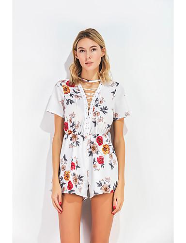 Mulheres Para Noite Moda de Rua Macacão Floral Decote V Cintura Alta / Verão / Com Laço / Padrões florais