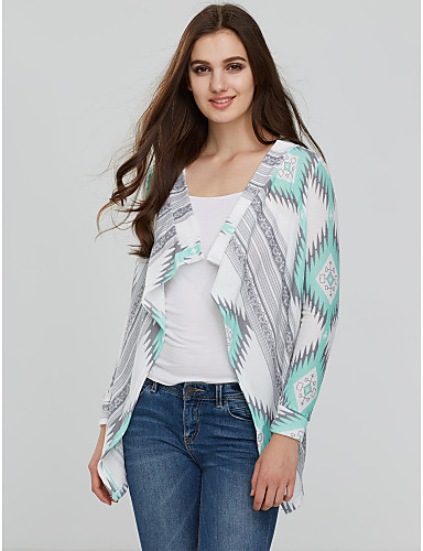 Women's Casual/Daily Simple Print Cowl Neck Cardigan, Long Sleeves Winter