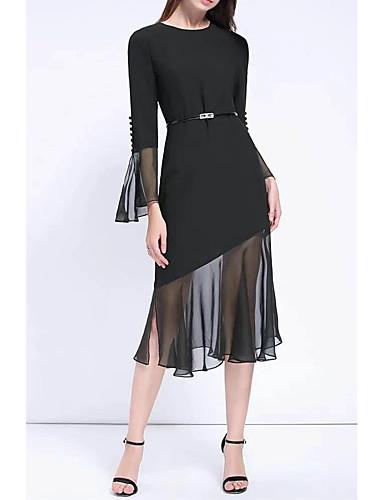 여성 루즈핏 시프트 드레스 데이트 캐쥬얼/데일리 단순한 스트리트 쉬크 솔리드,V 넥 미디 무릎길이 실크 면 여름 가을 중간 밑위 약간의 신축성 중간