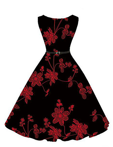 13c6813738 Women s Floral Daily Holiday Vintage Street chic Swing Dress - Embroidered  Summer Black L XL XXL