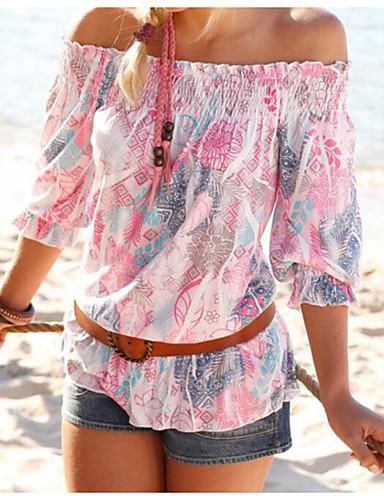 Mulheres Blusa Estampado, Multi-Côr Poliéster Decote Canoa
