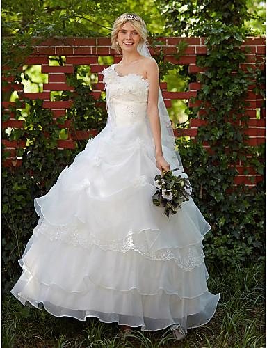 povoljno Haljine za svadbe-Krinolina Na jedno rame Do poda Organza Izrađene su mjere za vjenčanja s Perlica / Aplikacije / Uštipnuti nabori po LAN TING BRIDE®
