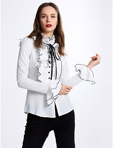 Dames Strik Ruche Overhemd Effen Opstaand