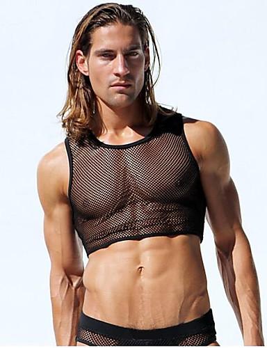 Homens Malha Íntima - Esportes Com Transparência, Sólido