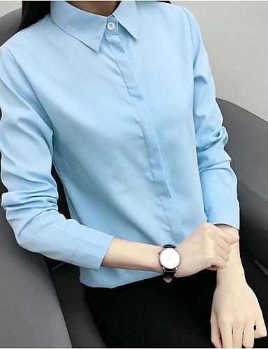 abordables Hauts pour Femme-Chemise Femme, Couleur Pleine - Coton Couleur unie Simple Col de Chemise Blanche / Printemps / Automne