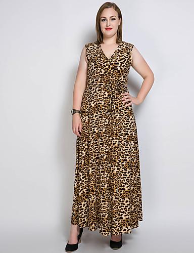 فستان نسائي قياس كبير متموج قطن طويل للأرض لون سادة / جلد نمر V رقبة