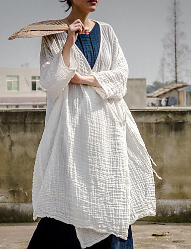 여성 솔리드 숄 라펠 트렌치 코트,단순한 캐쥬얼/데일리 긴 아크릴 여름