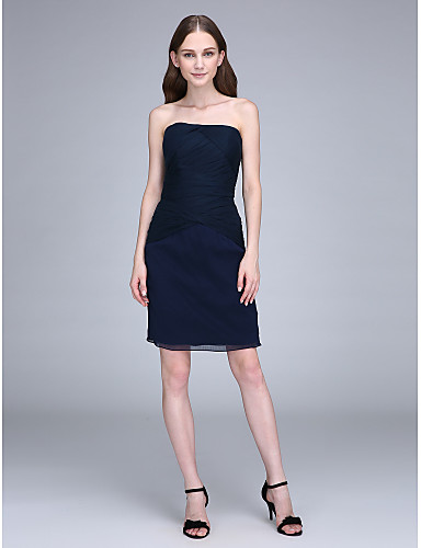 Sheath / Column Strapless Knee Length Chiffon Bridesmaid Dress with Side Draping by LAN TING BRIDE®