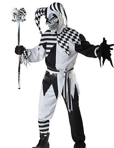 billige Halloween- og karnevalkostymer-Skjelett / Kranium Engel & Demon Monstere Cosplay Kostumer Herre Halloween Karneval De dødes dag Festival / høytid Svart / Hvit Karneval Kostumer Mote