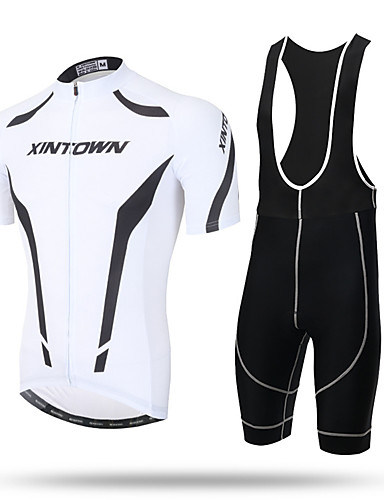 cheap Cycling Clothing-XINTOWN Men's Short Sleeve Cycling Jersey with Bib Shorts - Black / White Black / Red Black / Blue Bike Jersey Bib Tights Breathable Quick Dry Ultraviolet Resistant Back Pocket Sweat-wicking Sports